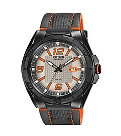 Citizen® Eco-Drive Men's Black Ion Plated BRT Watch with Orange Accents