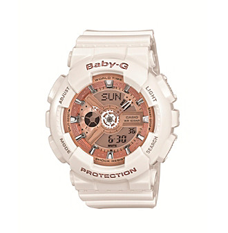 Baby-G Women's 46mm White With Rose Goldtone Dial Analog-Digital Watch