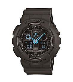 G-Shock XL Ana-Digi Black Resin Watch with Neon Blue Hands