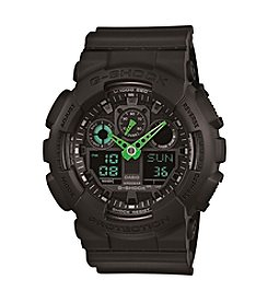 G-Shock XL Ana-Digi Black Resin Watch with Neon Green Hands