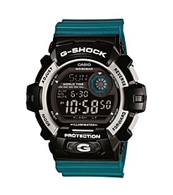 G-Shock XL Digital Blue Resin Band Watch with Black Case