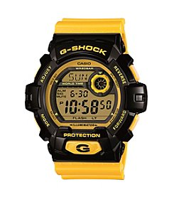 G-Shock XL Digital Yellow Resin Band Watch with Black Case