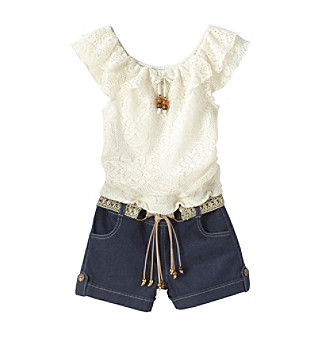 My Michelle Girls' 7-16 White Lace Peasant Romper