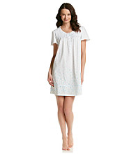 Aria® White/Aqua Short Knit Gown - Ditsy Floral