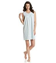 Aria® Short Sleeveless Knit Gown - Aqua Floral Border