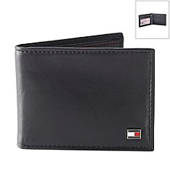 Tommy Hilfiger® Men's Black Oxford Flip Billfold Leather Wallet