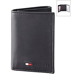 Tommy Hilfiger® Men's Black Trifold & Valet Leather Wallet
