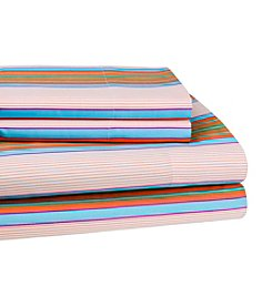 Elite Home Products Hotel Print Spring Stripe Sheet Sets