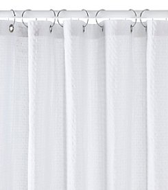 Excell Waffle White Shower Curtain
