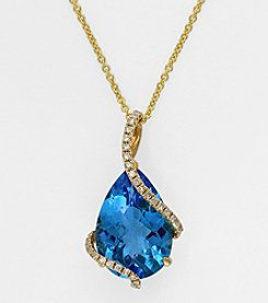 Effy® Pear-Shaped Blue Topaz and .19 Ct. T.W. Diamond Pendant in 14K Yellow Gold