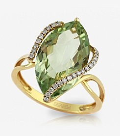 Effy® Green Amethyst and .14 ct. t.w. Diamond Ring in 14K Yellow Gold