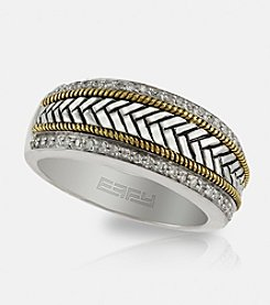 Effy® .25 Ct. T.W. Diamond Band Ring in Sterling Silver/18K Gold - Size 10