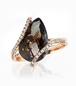 Effy® Pear-Shaped Smoky Quartz and .19 Ct. T.W. Diamond Ring in 14K Rose Gold