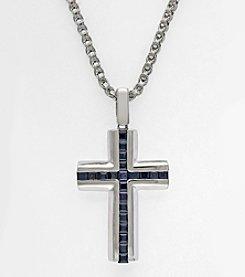 Effy® Sapphire Cross Pendant in Sterling Silver