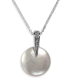 Effy® Freshwater Pearl .03 Ct. T.W. Diamond Pendant in 14K White Gold