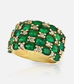 Effy® Emerald .61 ct. t.w. Diamond Ring in 14K Yellow Gold