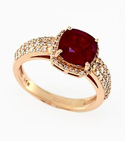 Effy® Lead Glass Filled Ruby .48 ct. t.w. Diamond Ring in 14K Rose Gold