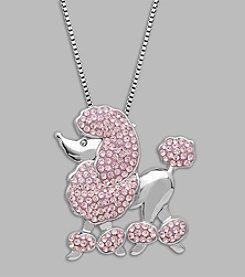 Impressions® Pink Crystal Poodle Pendant in Sterling Silver