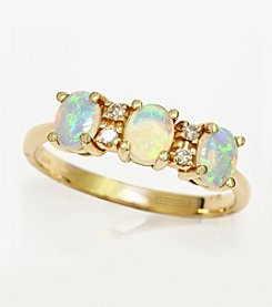Effy® Aurora Collection Opal .08 ct. t.w. Diamond Ring in 14K Yellow Gold
