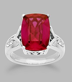 Created Ruby & Created White Sapphire Ring in Sterling Silver