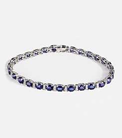 Effy® Ceylon Sapphire and .25 Ct. T.W. Diamond Tennis Bracelet in 14K White Gold