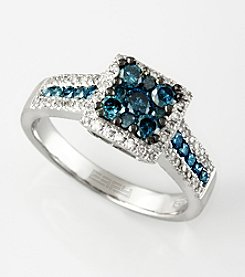 Effy® .92 Ct. T.W. Blue and White Diamond Ring in 14K White Gold