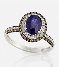 Effy® Manufactured Diffused Sapphire .49 Ct. T.W. Diamond Ring in 14K White Gold