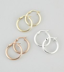 Designs by FMC Sterling Silver Tri-Tone Hoop Earrings Set