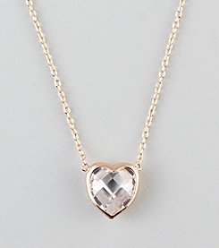 Designs by FMC Rose Plated Sterling Silver Cubic Zirconia Faceted Heart Necklace