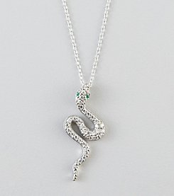 Designs by FMC Sterling Silver Pave Cubic Zirconia Snake Pendant