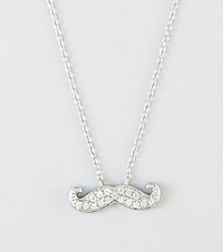 Designs by FMC Sterling Silver Cubic Zirconia Pave Moustache Necklace