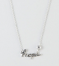 "Designs by FMC Sterling Silver ""Hope"" with Round Cubic Zirconia Necklace"
