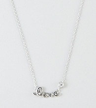 "Designs by FMC Sterling Silver ""Love"" with Round Cubic Zirconia Necklace"
