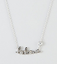 "Designs by FMC Sterling Silver ""Believe"" with Round Cubic Zirconia Necklace"