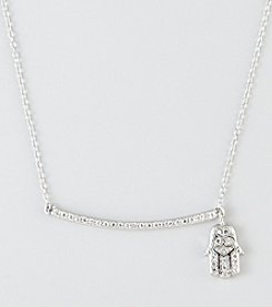 Designs by FMC Sterling Silver Cubic Zirconia Pave Hamsa Charm & Bar Necklace