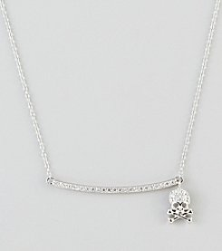 Designs by FMC Sterling Silver Cubic Zirconia Pave Skull Charm & Bar Necklace