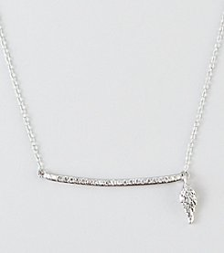 Designs by FMC Sterling Silver Cubic Zirconia Pave Wing Charm & Bar Necklace