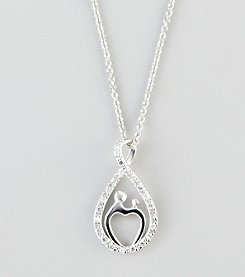 Designs by FMC Sterling Silver Cubic Zirconia Infinity Mother/Child Pendant