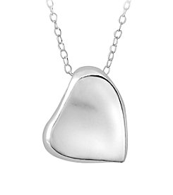 Designs by FMC Sterling Silver Polished Off-Center Heart Pendant
