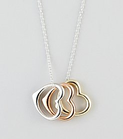 Designs by FMC Sterling Silver Tri-Tone Three Floating Hearts Pendant