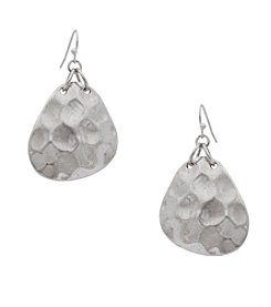 Erica Lyons® Hammered Silvertone Drop Earrings