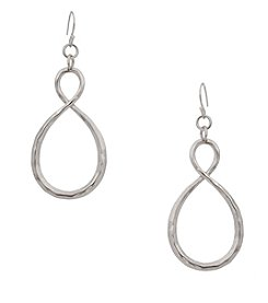 Erica Lyons® Hammered Infinity Loop Silvertone Earrings