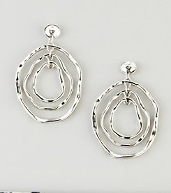 Erica Lyons® Silvertone Hammered Hoop Drop Earrings
