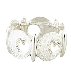 Erica Lyons® Cut Out Simulated Crystal Silvertone Bracelet