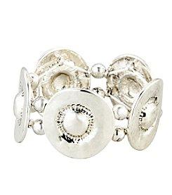 Erica Lyons® Silvertone Organic Disc Stretch Bracelet