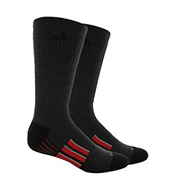 adidas® Men's Black 2-Pack Climalite Traxion Performance Crew Socks