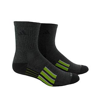 adidas® Men's Black 2-Pack Climalite Traxion Performance Mid Crew Socks