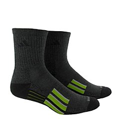 adidas® Men's Black 2-Pack Climalite Traxion Performance Mid Crew Socks