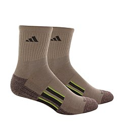 adidas® Men's Brown 2-Pack Climalite Traxion Performance Mid Crew Socks