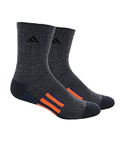 adidas® Men's 2-Pack Gray Climalite Traxion Performance Mid Crew Socks